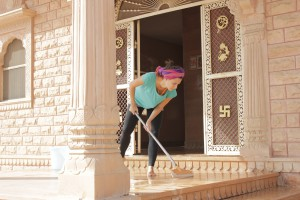 Seva cleaning temple